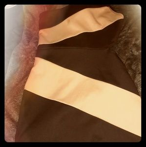Cream and black asymmetrical dress